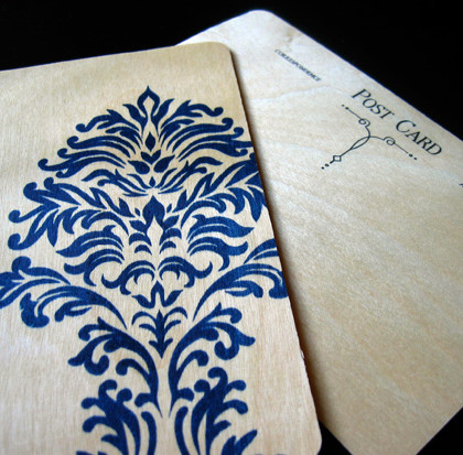 Wood Damask Postcard