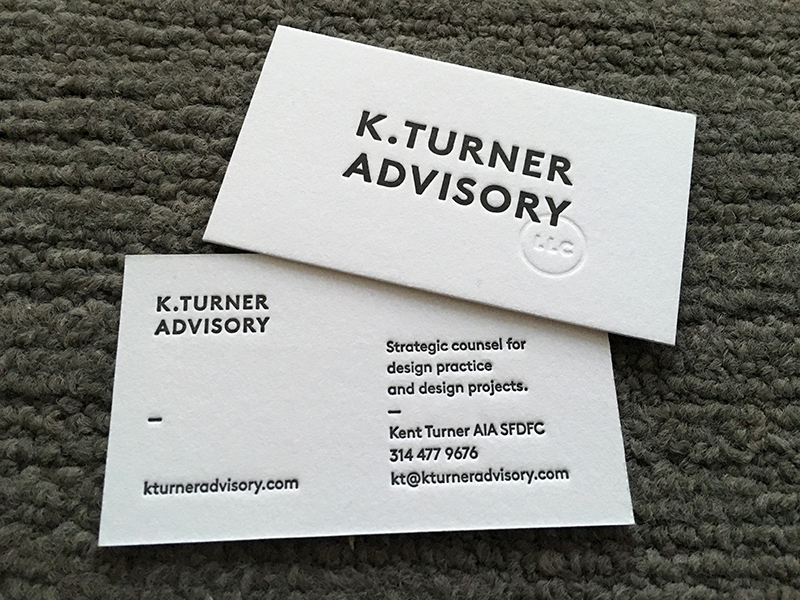Architect business cards paper schmaper 2 sided letterpress printed business cards k turner k turner cards colourmoves Gallery
